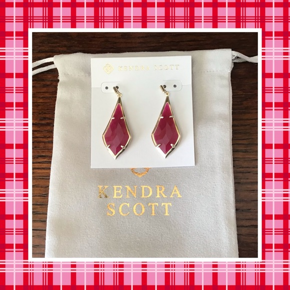 Kendra Scott Ruby Red Gold Dangle Earrings